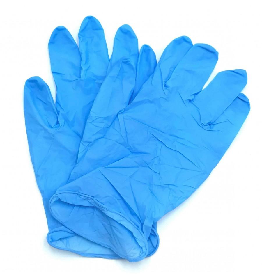 Guanti in nitrile colore blu