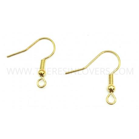 Earring hooks gold color 20mm 10pcs