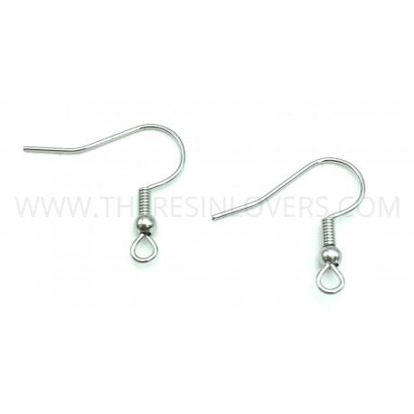 Earring hooks platinum color 20mm 10pcs