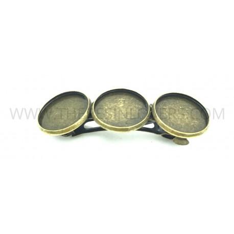 Fermacapelli 3 castoni bronzo antico