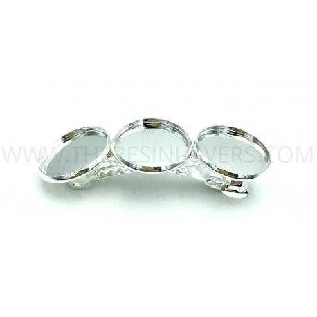 Fermacapelli 3 castoni color argento