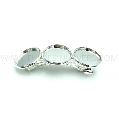 Hair clip silver with bezel