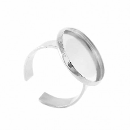 Base anello regolabile con castone 18mm