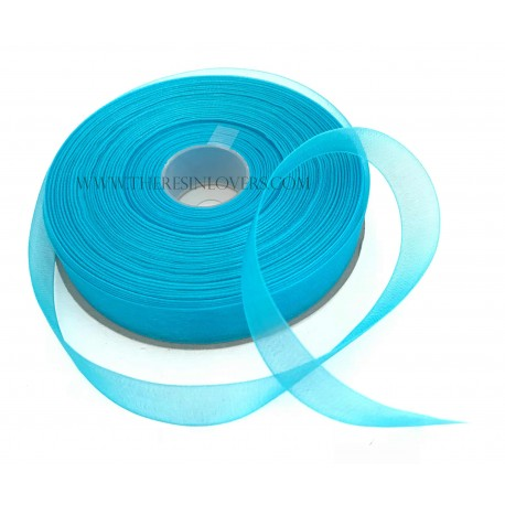 Turquoise Organza Beaded Ribbon 1.5 cm