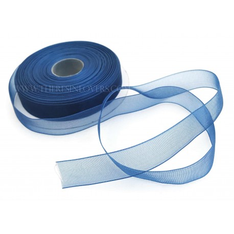 Blue Bordered Organza Ribbon 1.5 cm