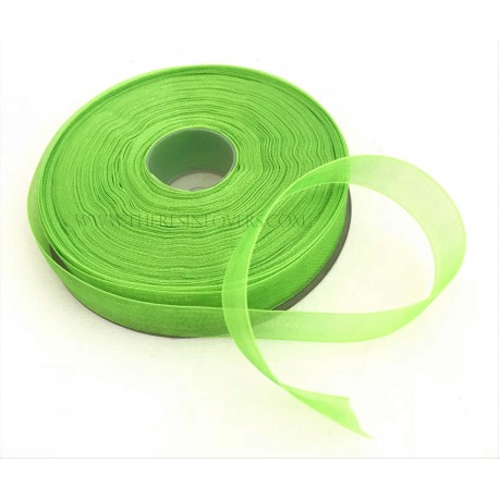 Light Green Bordered Organza Ribbon 1.5 cm