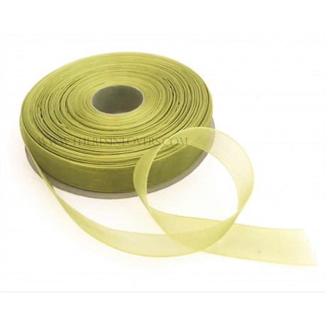 Forest Green Bordered Organza Ribbon 1.5 cm