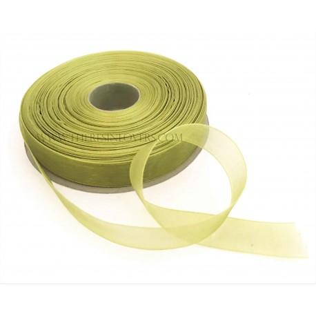 Nastro Organza Bordato Verde Bosco 1.5 cm