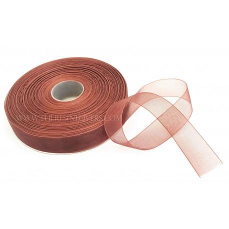 Brown Bordered Organza Ribbon 1.5 cm