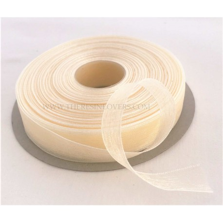 Ivory Bordered Organza Ribbon 1.5 cm