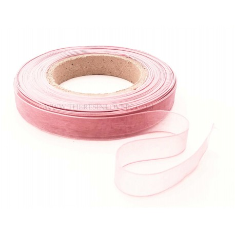 Antique pink Bordered Organza Ribbon 1.5 cm
