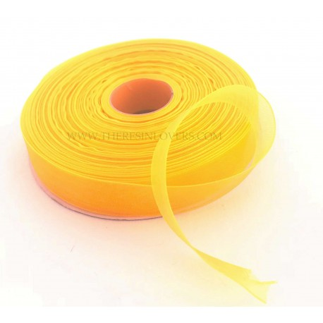 Yellow Bordered Organza Ribbon 1.5 cm