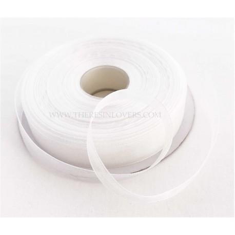 White Bordered Organza Ribbon 1.5 cm